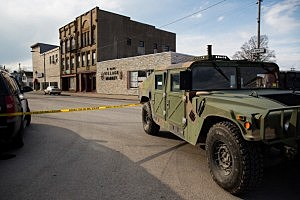 A military-style vehicle sits on West Main Street in Herkimer, NY