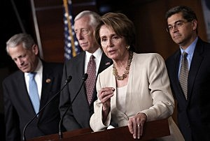 House Minority Leader Rep. Nancy Pelosi (D-CA) (2nd R) speaks during a press conference with (L-R) Rep. Steve Israel (D-NY), Rep. Steny Hoyer (D-MD) and Rep. Xavier Becerra (D-CA) following a meeting of House Democrats with President Barack Obama