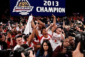 Louisville Cardinals celebrate winning Big East tournament