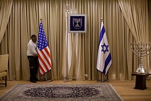 Preparations for the arrival of President Barack Obama at the president's residence in Jerusalem, Israel.