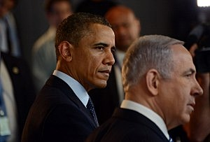 President Barack Obama and Israeli Prime Minister Benjamin Netanyahu view an Israeli technology exhibition at the Israel Museum