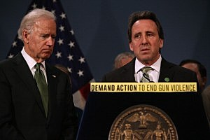 Neil Heslin (R), father of Sandy Hook shooting victim Jesse Lewis, 6, stands with U.S. Vice President Joe Biden at a press conference for gun reform in New York