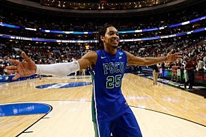 Sherwood Brown #25 of the Florida Gulf Coast Eagles celebrates after they won 78-68 against the Georgetown Hoyas