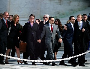 (L-R) Attorney David Boies, plaintiff couples Sandy Steier, Kris Perry, Paul Katami, Jeff Zarillo and attorney Ted Olson leave the U.S. Supreme Court after oral arguments,