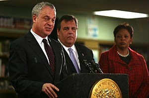 Governor Chris Christie, Mayor Dana Redd and Commissioner of Education Chris Cerf announce the administration will take over operations in the Camden school district