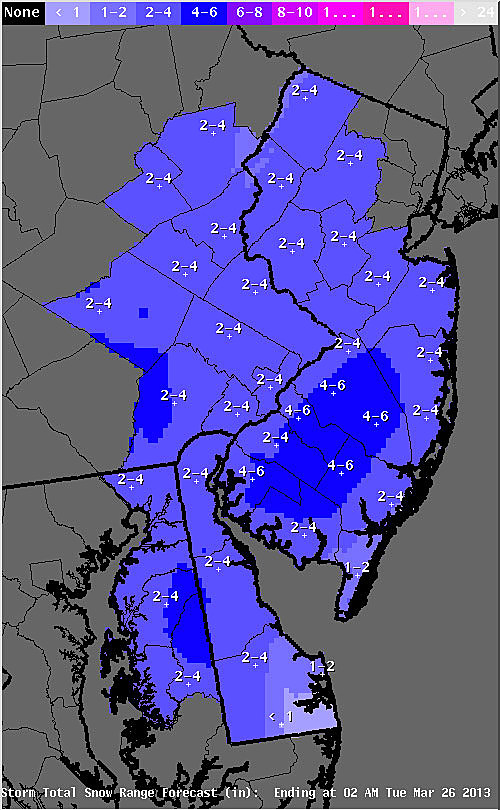 National Weather Service expected snow fall
