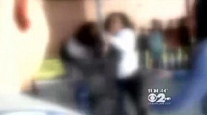 Scene from fight video at Bridgewater-Raritan High School (WCBS TV)