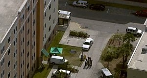 Police outside University Of Central Florida dorm where explosives were discovered