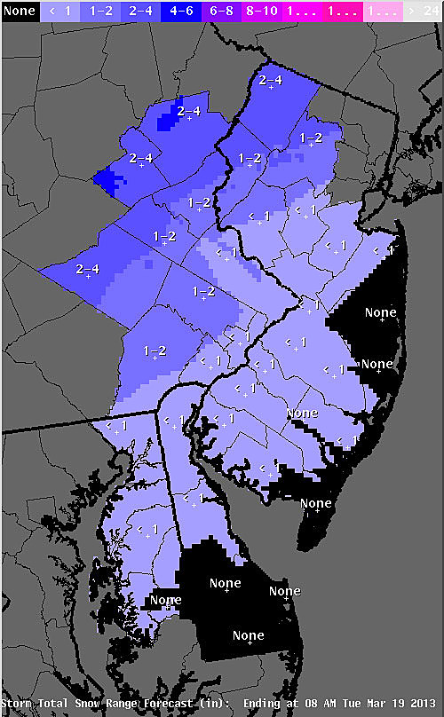 Expected snow accumulation from tonight's snow