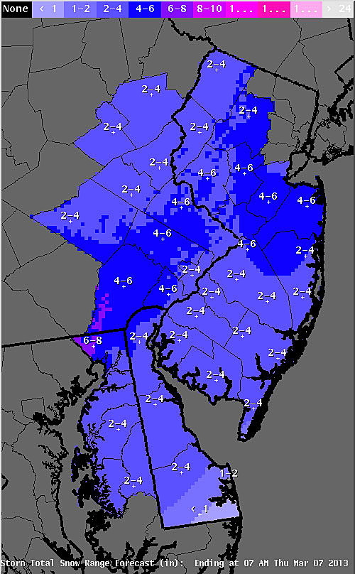 Expected snow accumulation from Wednesday storm