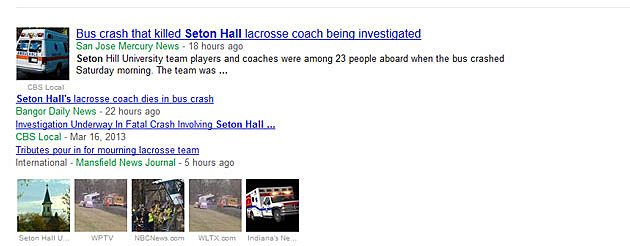 "Screen shot of Google News search for ""Seton Hall"""
