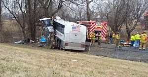 Bus carrying Seton Hill lacrosse team follwoing crash on Pennsylvania Turnpike