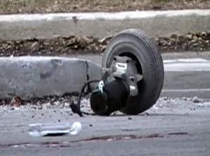 Part of a wheelchair following pedestrian accident involving a wheelchair-bound man in Trenton