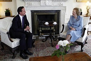 British Prime Minister David Cameron talks to former Prime Minister Baroness Thatcher inside Number 10 Downing Street  in 2010