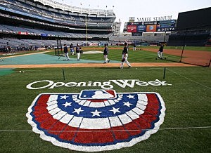 The New York Yankees warm up before the game against the Boston Red Sox during Opening Day
