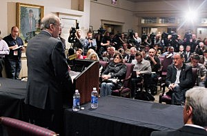Rutgers University President Robert L Barchi addresses the media during a press conference at Rutgers University announcing the resignation of Athletic Director Tim Pernetti