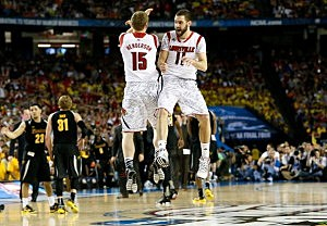 Tim Henderson #15 and Luke Hancock #11 of the Louisville Cardinals