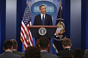 President Barack Obama speaks about bombing at the Boston Marathon
