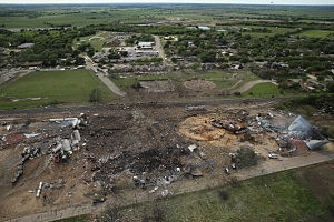 The West Fertilizer Company, shown from the air, lies in ruins