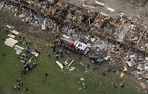 remains of a 50-unit apartment building the day after an explosion at the West Fertilizer Company