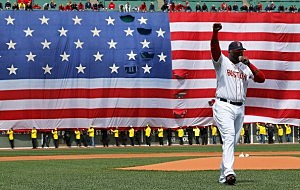 David Ortiz #34 of the Boston Red Sox speaks during a pre-game ceremony in honor of the bombings of Marathon Monday