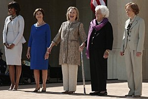 (L-R) First lady Michelle Obama, former first lady Laura Bush, former first lady Hillary Clinton, former first lady Barbara Bush and former first lady Rosalynn Carter attend the opening ceremony of the George W. Bush Presidential Center