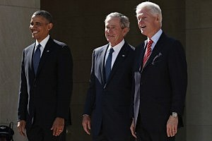 President Barack Obama, former President George W. Bush and former President Bill Clinton attend the opening ceremony of the George W. Bush Presidential Center