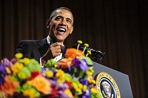 President Barack Obama tells jokes poking fun at himself as well as others during the White House Correspondents' Association Dinner