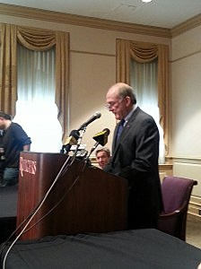 Dr. Robert Barchi at press conference about resignation of Tim Pernetti
