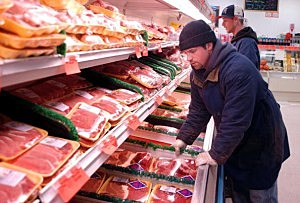 A meat display at a Pennsylvania market