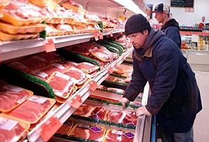 A meat display at a Pennsylvania market