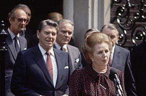 British prime minister Margaret Thatcher, American president Ronald Reagan (left) and US Secretary of State Alexander Haig (centre) outside Number 10, Downing Street during Reagan's state visit to London.
