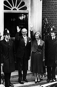 Margaret Thatcher, the first female prime minister of a European country, standing with her husband Denis Thatcher outside No 10 Downing Street after her General Election success.