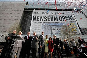 Newseum officials (L-R) Chairman Alberto Ibarguen, founder Al Neuharth, CEO Charles Overby and President Peter Prichard are joined by District of Columbia Mayor Adrian Fenty and Del. Elenor Holmes Norton (D-DC) for the grand opening of the news museum April 11, 2008 in Washington, DC.