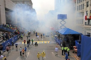 Boston Marathon bombing in Copley Square