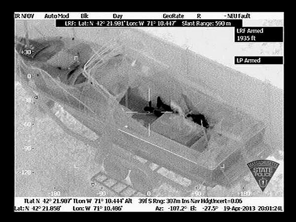 Thermal image of Boston Marathon suspect Dzhokhar Tsarnaev in a boat