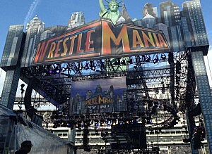Wrestlemania stage at MetLife Stadium