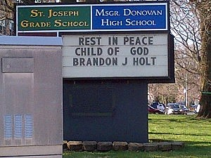 Sign outside St. Joseph's School in Toms River