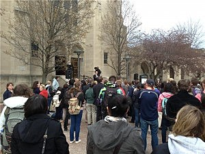 Students gather on campus of Boston University for announcement about third victim