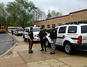 Police at Cherry Hill East following evacuation