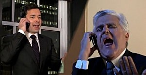 (L-R) Jimmy Fallon and Jay Leno sing a duet about the rumors about the future of the Tonight Show