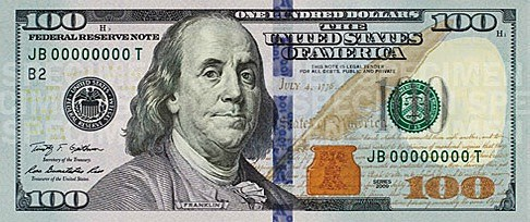 Front of the new $100 bill