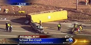 Overturned school bus near Chicago