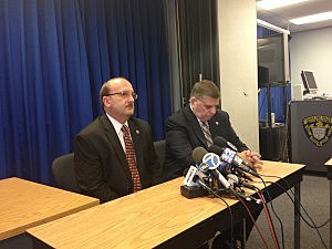 (L-R) Ocean County Prosecutor Joseph Coronado & Toms River Police Chief Mike Mastronardy at a press conference