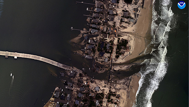 Aerial view of Mantaloking after Superstorm Sandy