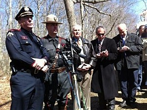 Police and URI officials at a press conference after shooting incident ended