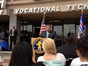 Governor Christie speaks at the TEAL Center at Essex County Newark