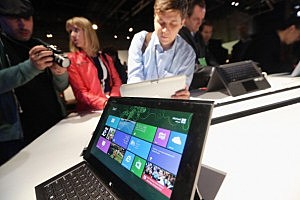 The Microsoft Windows 8 operating system is on display at a press conferenceThe Microsoft Windows 8 operating system is on display at a press conference