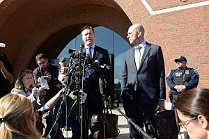 Robert G. Stahl, attorney for Dias Kadyrbayev, speaks to reporters outside the John Joseph Moakley Courthouse alongside Harlan J. Protass, attorney for Azamat Tazhayakov,