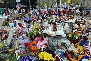 Memorial to the Boston Marathon bombing victims on Boylston Street
